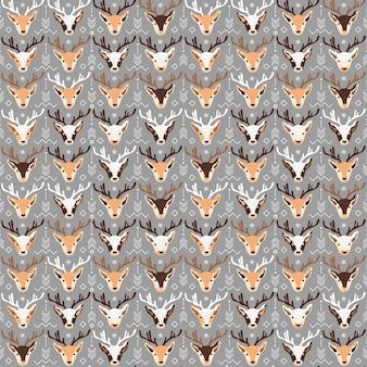 Padrão sem emenda com ilustração vetorial de cervo de natal