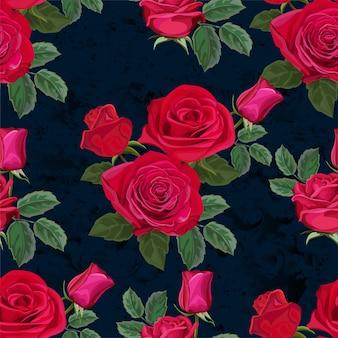 Padrão sem emenda com ilustração vetorial de flor rosa