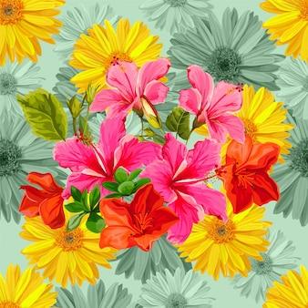 Padrão sem emenda com ilustração vetorial de flor tropical