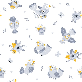 Padrão sem emenda com ilustrações de flores e pássaros