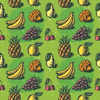 Padrão sem emenda, com ilustrações de frutas
