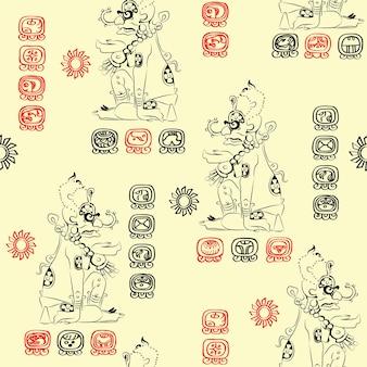 Padrão sem emenda com imagem da divindade maia (sun - ah kin ou kinich ahab) e caráter maia para os nomes dos dias