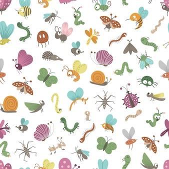 Padrão sem emenda com insetos lisos engraçados desenhados à mão
