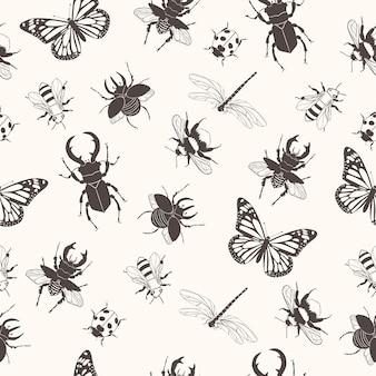 Padrão sem emenda com insetos.