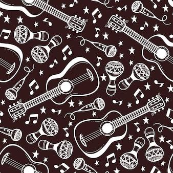 Padrão sem emenda com instrumentos musicais em estilo doodle