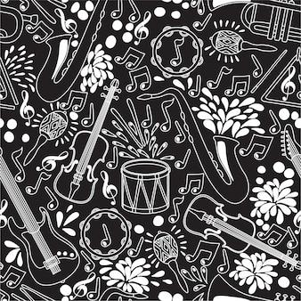 Padrão sem emenda com instrumentos musicais. ilustração. fundo abstrato de música