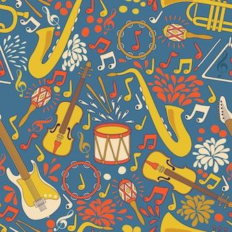 Padrão sem emenda com instrumentos musicais. ilustração. fundo musical abstrato