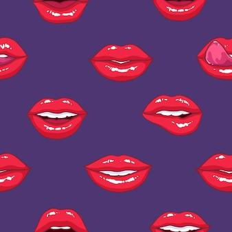 Padrão sem emenda com lábios femininos inchados, conceito de amor e paixão