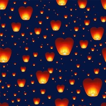 Padrão sem emenda com lanternas chinesas voando no céu noturno