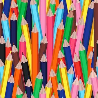 Padrão sem emenda com lápis de desenhos animados ou multicoloridos