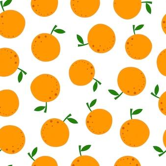 Padrão sem emenda com laranja dos desenhos animados.