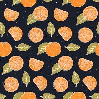 Padrão sem emenda com laranjas e folhas.
