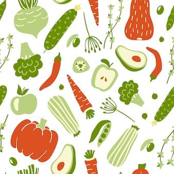 Padrão sem emenda com legumes coloridos.