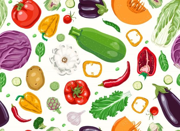 Padrão sem emenda com legumes frescos.
