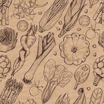 Padrão sem emenda com legumes frescos