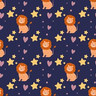 Padrão sem emenda com leões fofos e estrelas em um fundo escuro impressão para crianças projetar têxteis