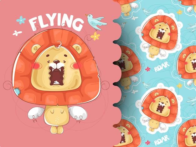 Padrão sem emenda com leões. ilustração e padrão