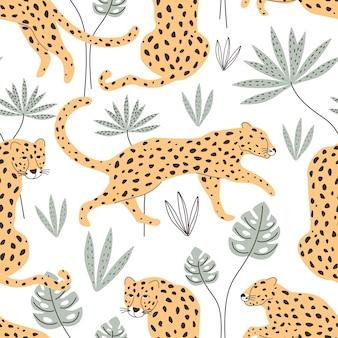Padrão sem emenda com leopardos e plantas tropicais. ilustração vetorial
