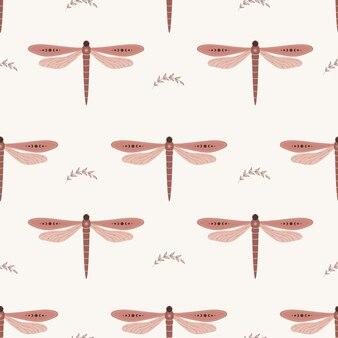Padrão sem emenda com libélula boho. inseto com elementos celestes.