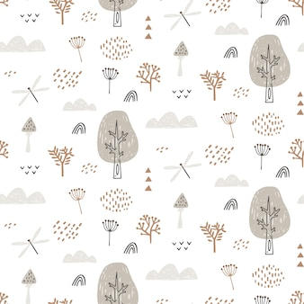 Padrão sem emenda com libélula, nuvens, árvores. padrão de floresta desenhada à mão é repetidamente infinito.