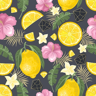 Padrão sem emenda com limão fresco