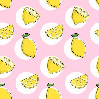 Padrão sem emenda com limão, limão e laranja. design perfeito com desenho cítrico