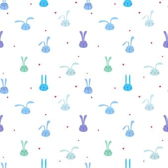 Padrão sem emenda com linda coelhinha, arte de coelho bonito para crianças