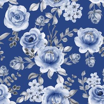 Padrão sem emenda com lindas flores azul marinho folhas