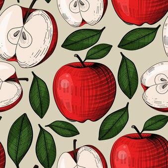 Padrão sem emenda com maçã na gravura estilo vintage. pode ser usado para tecido, toalha de mesa, papel de embrulho ou outros