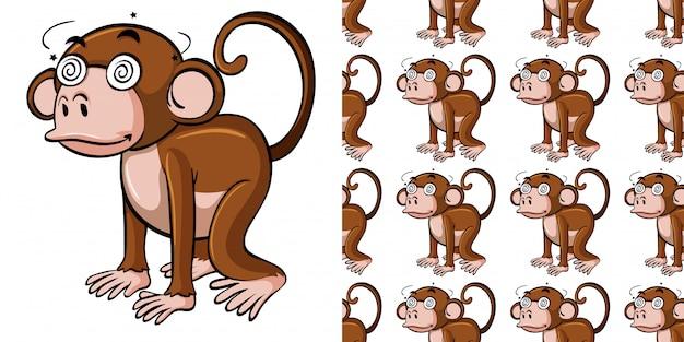 Padrão sem emenda com macaco doente