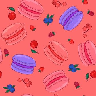 Padrão sem emenda com macarons de frutas vermelhas