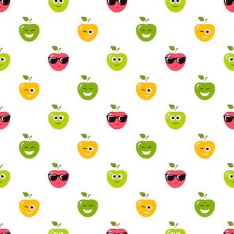 Padrão sem emenda com maçãs coloridas