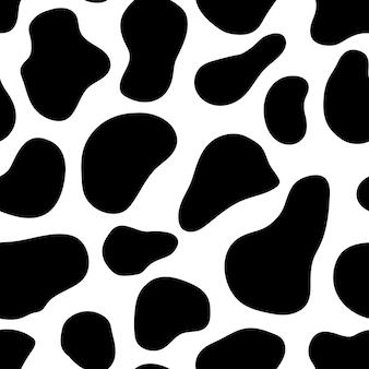 Padrão sem emenda com manchas de vaca pele de vaca padrão sem emenda preto e branco ilustração vetorial
