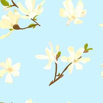 Padrão sem emenda com mão cor desenhada flores brancas
