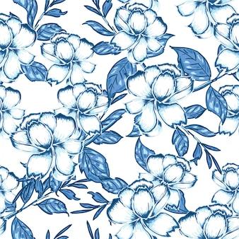 Padrão sem emenda com mão desenhada aquarela monótonos azuis flores e folhas.
