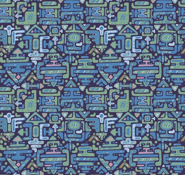 Padrão sem emenda com mão desenhada cor ornamento maya em fundo preto. pano de fundo azul sem fim. Vetor Premium
