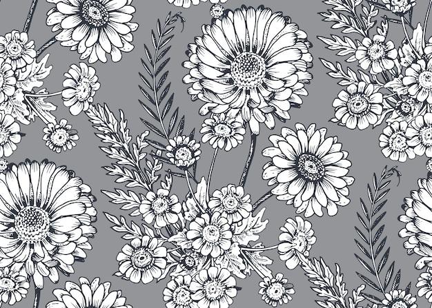 Padrão sem emenda com mão desenhada flores e plantas no estilo de desenho.