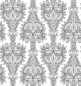 Padrão sem emenda com mão desenhada ornamento paisley asiático. amuleto com etnia. fundo infinito bonito preto e branco.