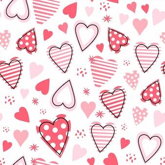 Padrão sem emenda com mão desenhadas corações