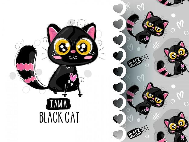 Padrão sem emenda com mão desenhados gatos. doodle de tinta.