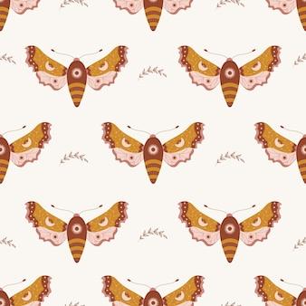 Padrão sem emenda com mariposa boho. inseto com elementos celestes.