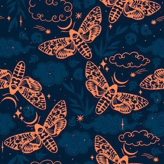 Padrão sem emenda com mariposas e céu estrelado