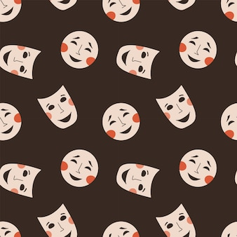 Padrão sem emenda com máscaras teatrais símbolo de drama e comédia