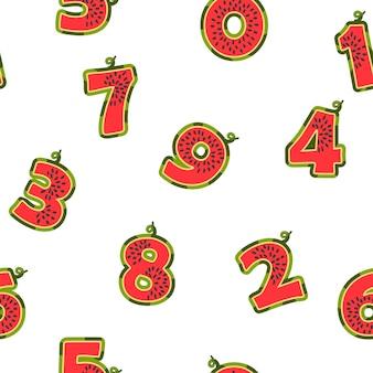 Padrão sem emenda com melancias de números, textura com frutas frescas para papel de parede. fundo de verão brilhante de ilustração vetorial com figuras escolares de design gráfico.