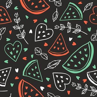 Padrão sem emenda com melancias e hortelã estilo quadro-negro fundo de verão