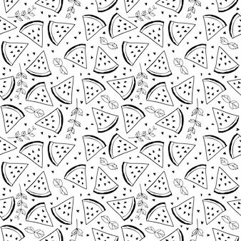 Padrão sem emenda com melancias e hortelã. papel de embrulho de frutas, tecidos, design têxtil. ilustração a preto e branco