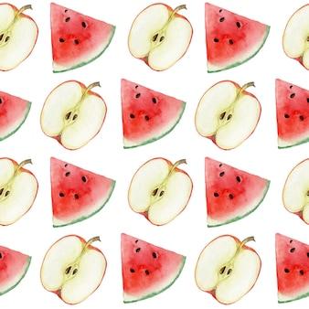 Padrão sem emenda com melancias e maçãs em um fundo branco