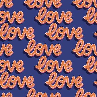 Padrão sem emenda com mensagem de mão com letras amor para feliz dia dos namorados. ilustração plana colorida.