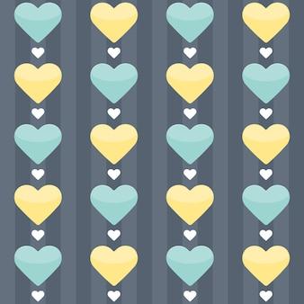 Padrão sem emenda com menta e corações amarelos em um azul. ilustração vetorial