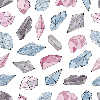 Padrão sem emenda com minerais, cristais, pedras preciosas. mão desenhada fundo colorido.